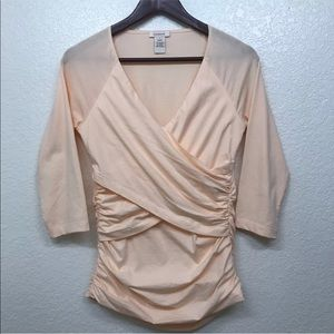 Sundance Catalog Ruched Wrap Top Coral Size Small